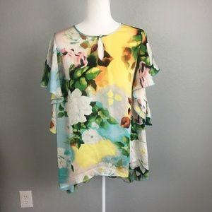 Melissa Mccarthy Seven7 Floral Blouse - 1X